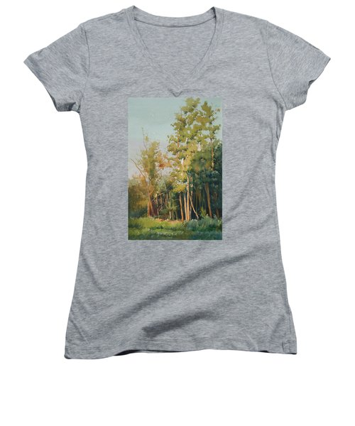 Women's V-Neck T-Shirt (Junior Cut) featuring the painting Color Of Light by Helal Uddin