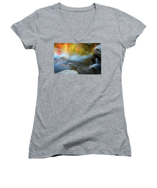 Women's V-Neck featuring the photograph Color On The Swift River Nh by Michael Hubley