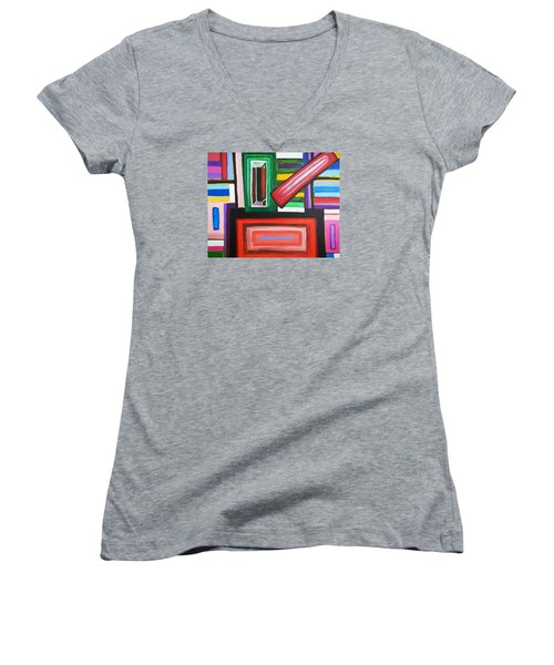 Color Squares Women's V-Neck T-Shirt