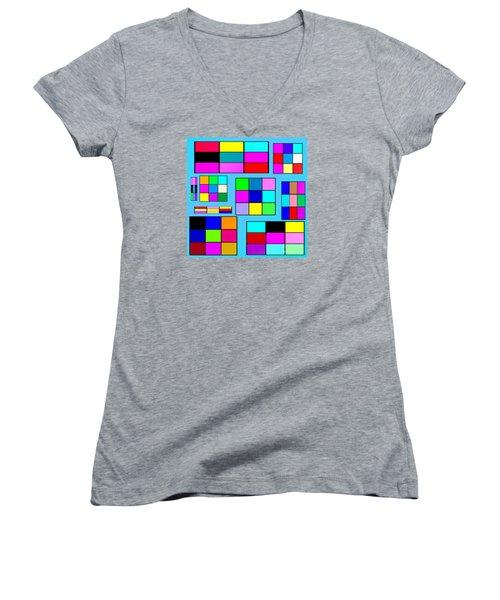 Color Squares Women's V-Neck (Athletic Fit)