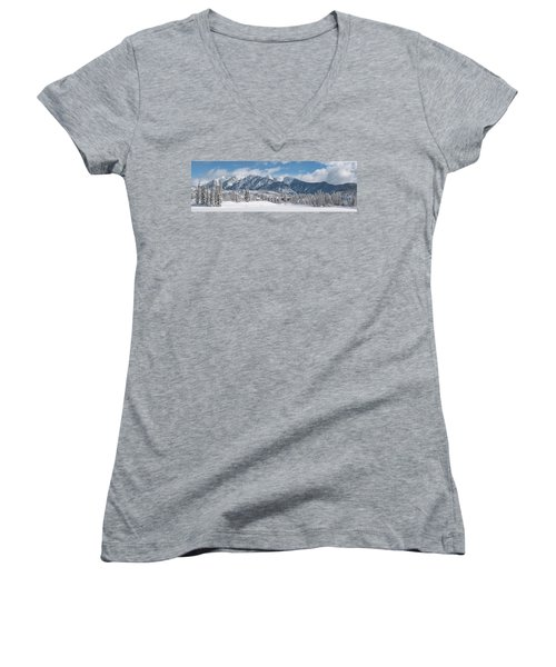 Colorad Winter Wonderland Women's V-Neck T-Shirt (Junior Cut) by Darren White