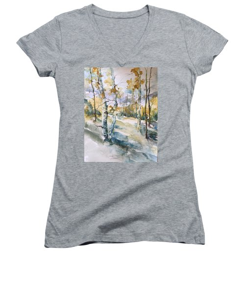Colorado Aspens And Cottonwoods Women's V-Neck T-Shirt (Junior Cut) by Robin Miller-Bookhout