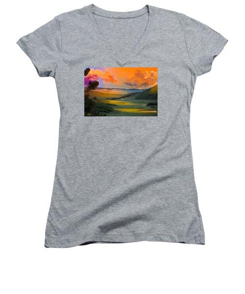 Colorado Big Valley Sunrise Women's V-Neck T-Shirt (Junior Cut) by J Griff Griffin