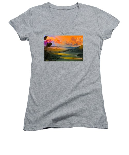 Colorado Big Valley Sunrise Women's V-Neck (Athletic Fit)