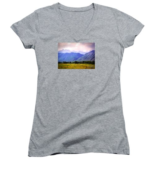 Colorado Harvest Watercolor  Women's V-Neck (Athletic Fit)