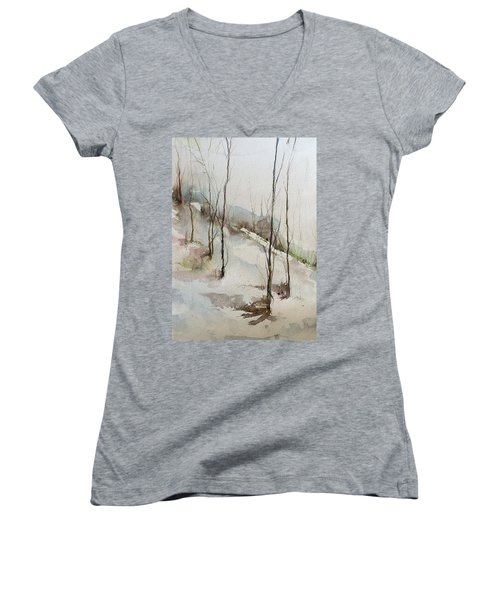 Colorado Morning Women's V-Neck T-Shirt (Junior Cut) by Robin Miller-Bookhout