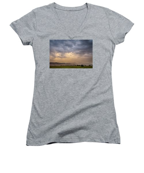 Women's V-Neck T-Shirt featuring the photograph Colorado Rocky Mountain Foothills Storms by James BO Insogna