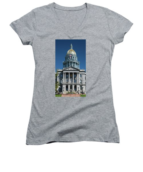 Colorado State Capitol Women's V-Neck (Athletic Fit)