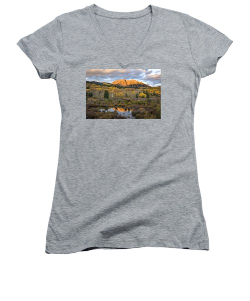 Women's V-Neck T-Shirt (Junior Cut) featuring the photograph Colorado Sunrise by Phyllis Peterson