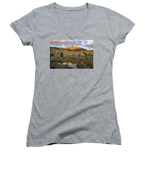 Colorado Sunrise Women's V-Neck T-Shirt (Junior Cut) by Phyllis Peterson