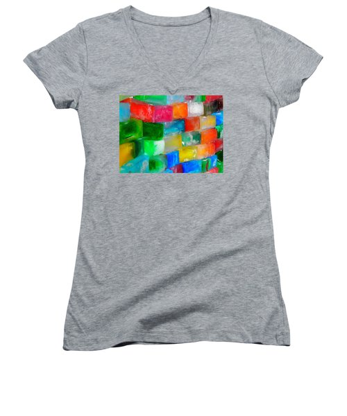 Colored Ice Bricks Women's V-Neck T-Shirt (Junior Cut) by Juergen Weiss