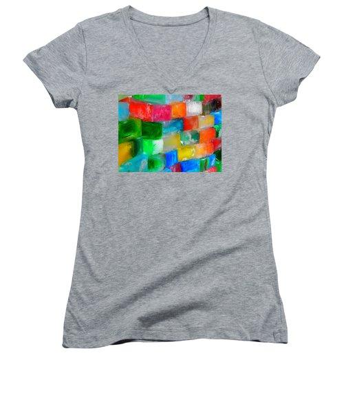 Colored Ice Bricks Women's V-Neck