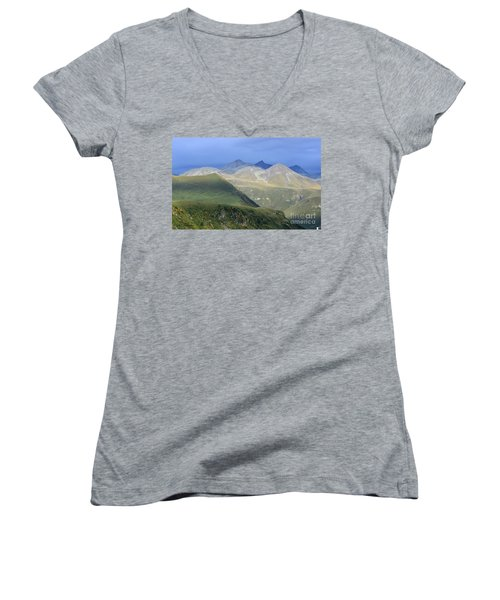 Colored Peaks Of The Caucasus Women's V-Neck T-Shirt (Junior Cut) by Arik Baltinester