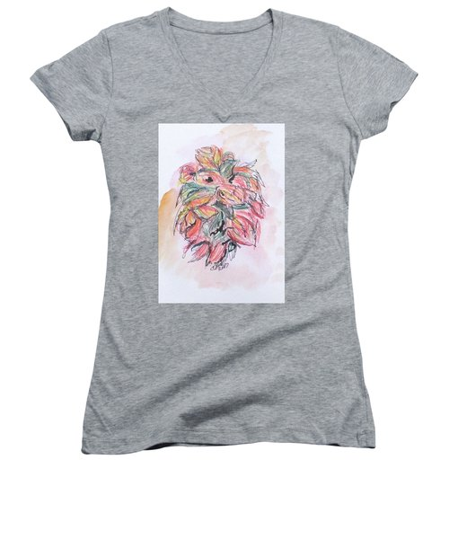Colored Pencil Flowers Women's V-Neck