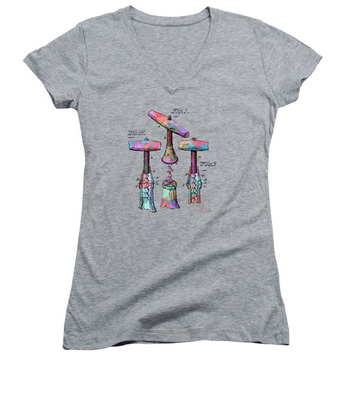 Colorful 1883 Wine Corckscrew Patent Women's V-Neck T-Shirt