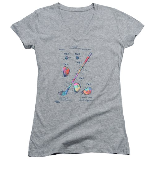 Colorful 1910 Golf Club Patent Women's V-Neck (Athletic Fit)