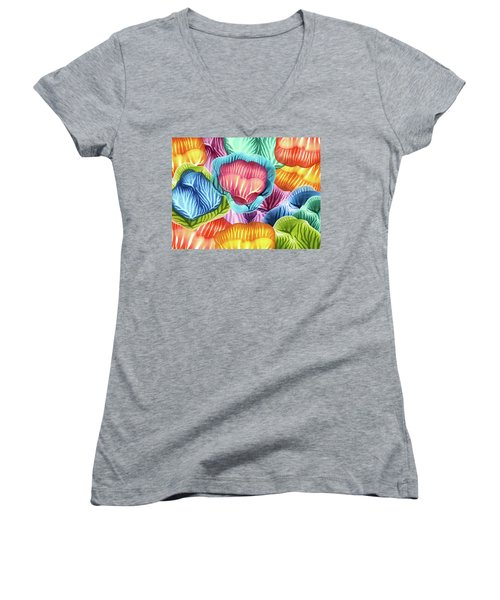 Colorful Abstract Flower Petals Women's V-Neck