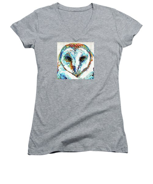 Colorful Barn Owl Art - Sharon Cummings Women's V-Neck (Athletic Fit)