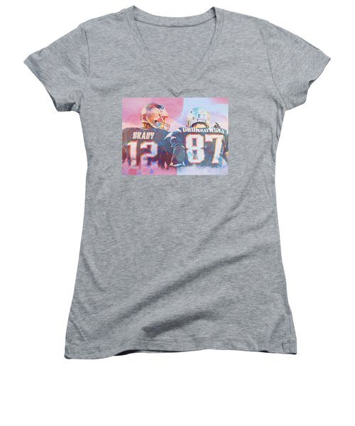 Women's V-Neck T-Shirt (Junior Cut) featuring the painting Colorful Brady And Gronkowski by Dan Sproul