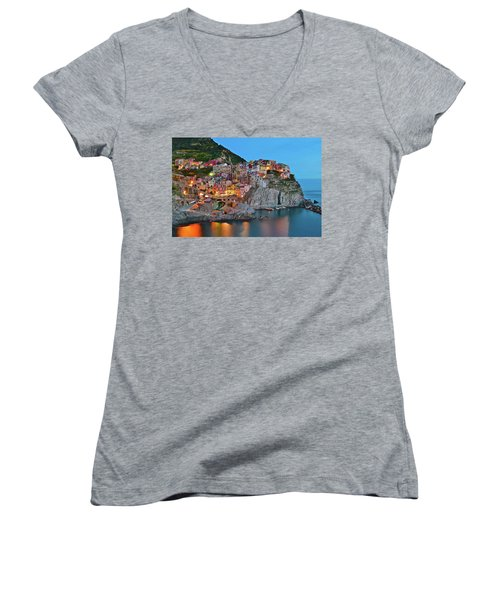 Women's V-Neck T-Shirt (Junior Cut) featuring the photograph Colorful Buildings Colorful Lights by Frozen in Time Fine Art Photography