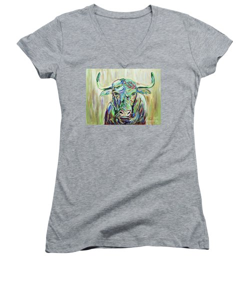 Women's V-Neck T-Shirt (Junior Cut) featuring the painting Colorful Bull by Jeanne Forsythe