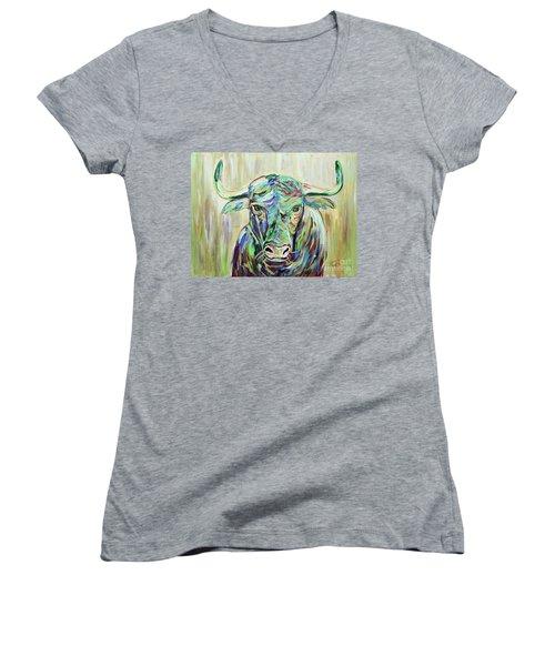 Colorful Bull Women's V-Neck T-Shirt (Junior Cut) by Jeanne Forsythe