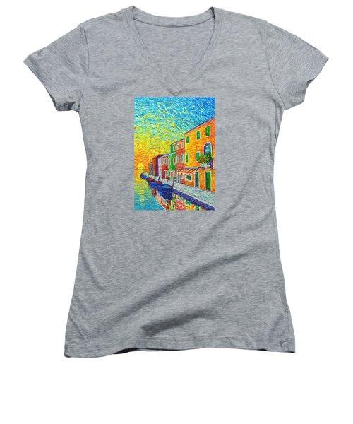 Colorful Burano Sunrise - Venice - Italy - Palette Knife Oil Painting By Ana Maria Edulescu Women's V-Neck T-Shirt (Junior Cut) by Ana Maria Edulescu