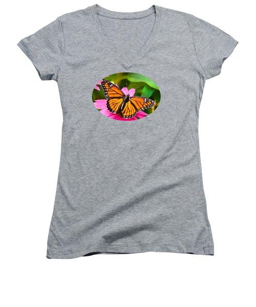 Colorful Butterflies - Orange Viceroy Butterfly Women's V-Neck T-Shirt (Junior Cut)