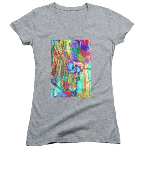 Colorful Cafe Abstract Women's V-Neck T-Shirt (Junior Cut) by Susan Stone