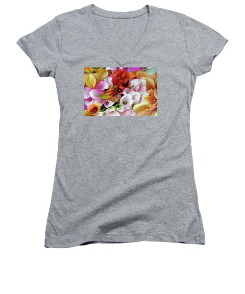 Colorful Calla Lilies Women's V-Neck (Athletic Fit)