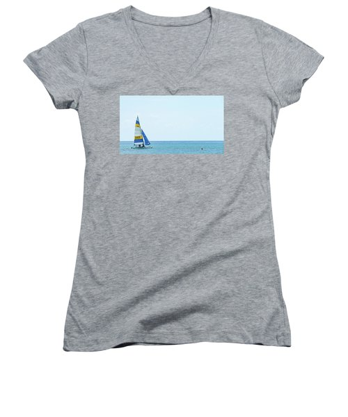Colorful Catamaran 3 Delray Beach Florida Women's V-Neck (Athletic Fit)