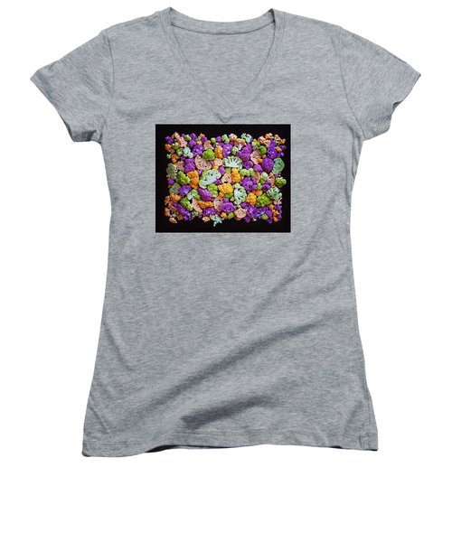 Colorful Cauliflower Mosaic Women's V-Neck