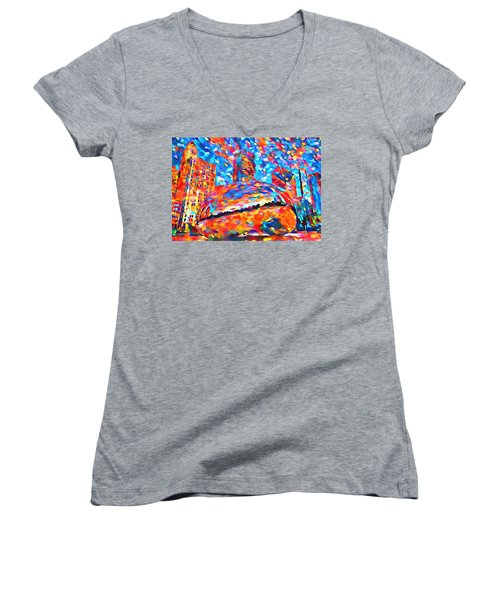 Women's V-Neck T-Shirt (Junior Cut) featuring the painting Colorful Chicago Bean by Dan Sproul