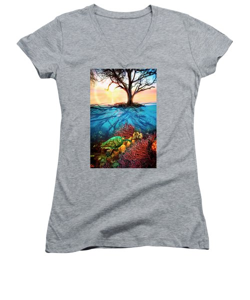 Women's V-Neck T-Shirt (Junior Cut) featuring the photograph Colorful Coral Seas by Debra and Dave Vanderlaan