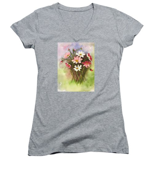 Colorful Cosmos Women's V-Neck T-Shirt (Junior Cut) by Lucia Grilletto