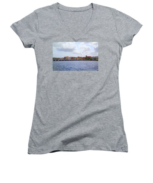 Women's V-Neck T-Shirt (Junior Cut) featuring the photograph Colorful Curacao by Lois Lepisto