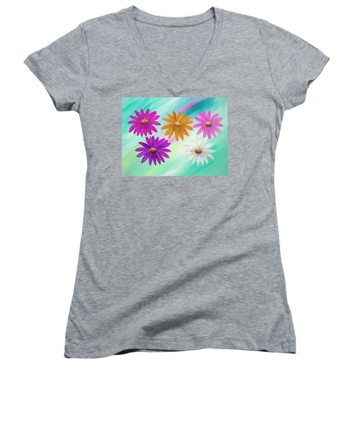 Women's V-Neck T-Shirt featuring the mixed media Colorful Daisies by Elizabeth Lock