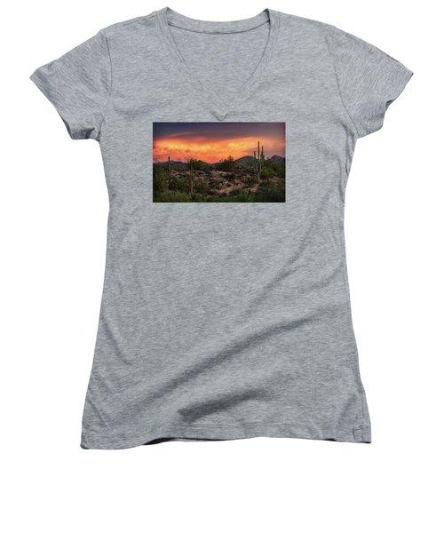 Women's V-Neck T-Shirt featuring the photograph Colorful Desert Skies At Sunset  by Saija Lehtonen