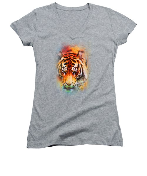 Colorful Expressions Tiger Women's V-Neck T-Shirt (Junior Cut) by Jai Johnson