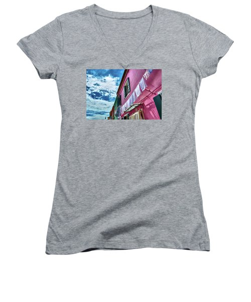 Colorful Facade With Laundry In Burano Women's V-Neck