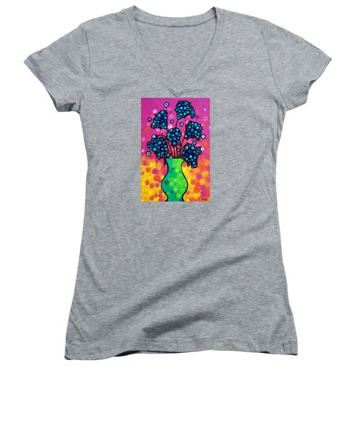 Colorful Flower Bouquet By Sharon Cummings Women's V-Neck