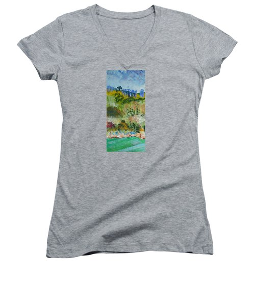 Colorful Forest On Cliffs Near The Sea In Dartmouth Devon Women's V-Neck