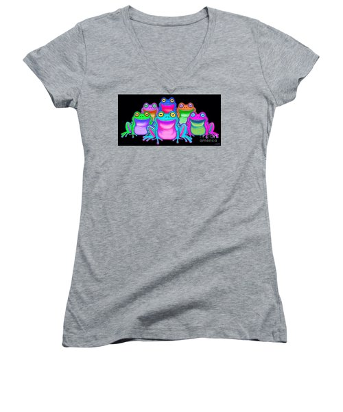 Women's V-Neck T-Shirt (Junior Cut) featuring the painting Colorful Froggies by Nick Gustafson