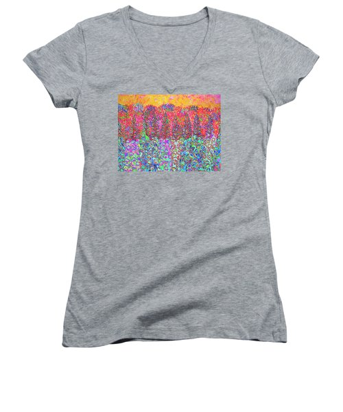 Women's V-Neck T-Shirt featuring the mixed media Colorful Garden by Elizabeth Lock