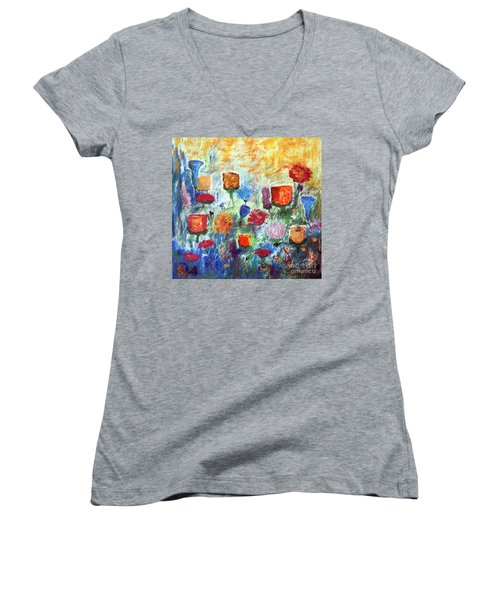 Women's V-Neck T-Shirt (Junior Cut) featuring the painting Colorful Garden by Haleh Mahbod
