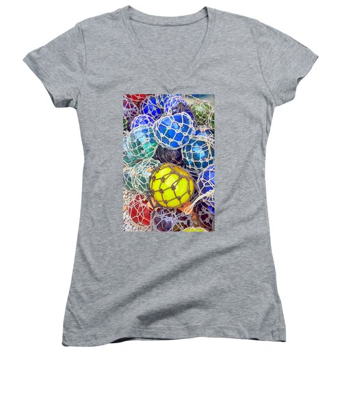 Colorful Glass Balls Women's V-Neck T-Shirt (Junior Cut) by Carla Parris