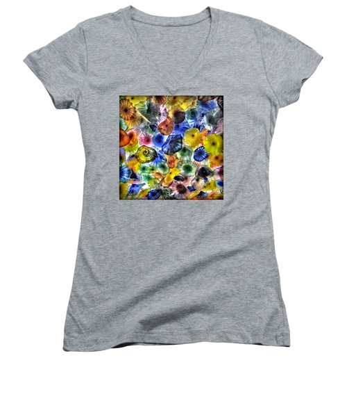 Colorful Glass Ceiling In Bellagio Lobby Women's V-Neck T-Shirt (Junior Cut) by Walt Foegelle