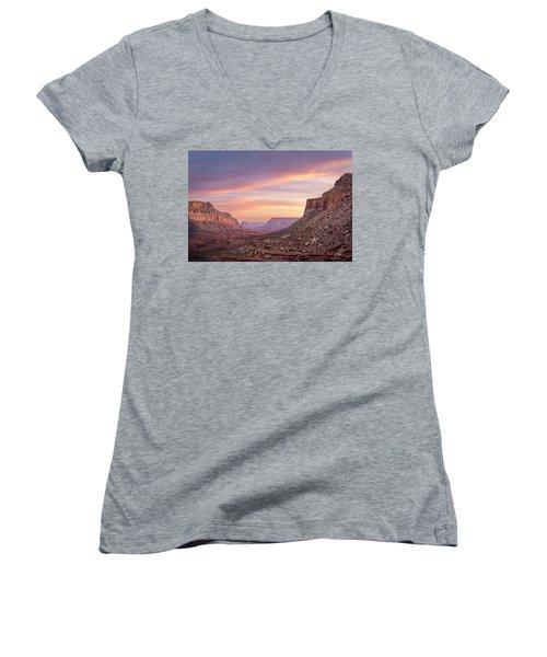 Colorful Havasupai Hike Women's V-Neck T-Shirt (Junior Cut) by Serge Skiba