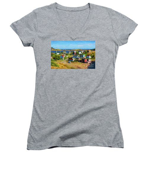 Colorful Homes In Trinity, Newfoundland - Painterly Women's V-Neck T-Shirt (Junior Cut) by Les Palenik