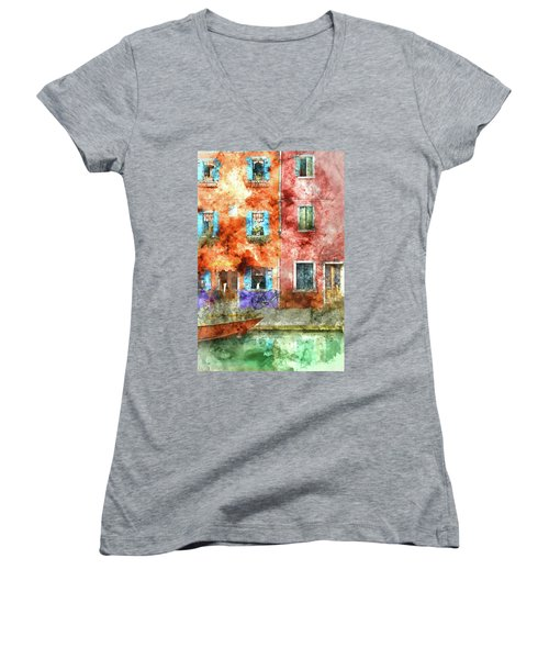 Colorful Houses In Burano Island, Venice Women's V-Neck (Athletic Fit)